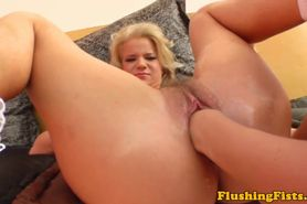 Fetish babe fisting her hairy blonde pal