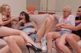 Wild Girls Sharing One Cock Together At A Slumber Party