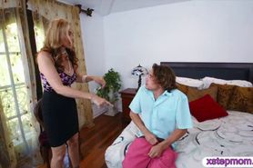 Lucky dude nailed his busty stepmom and the hottie maid