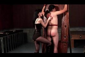 Chained male sex slave taking nasty ass spank