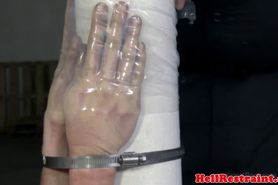 Tied up BDSM sub caned by rough male dom