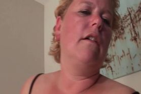 Sex addict mature in stockings shoves toys deep in her