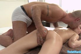 Petite Nataly Von receives hot massage