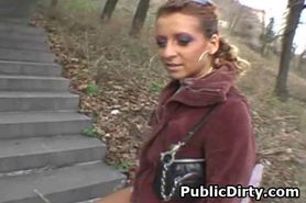 Dirty Amateur Brunette Flashing Her Pussy In Public