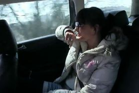 Babe makes revenge sex tape in fake taxi