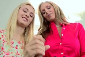 Blonde MILF And Hot Teen Give Handjob And Blowjob Toget