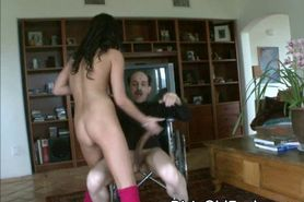 Asian Teen Girl Riding Dirty Old Man On The Floor