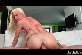 Skinny blonde humping dick and getting wet