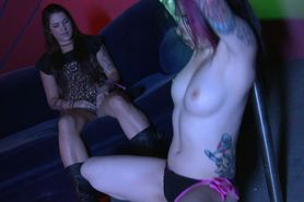 Emo goth hottie strips for her bff