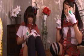 Sweet Japanese school girls fucked as sex slaves in gro