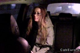 Amateur with glasses fucks in fake taxi in night shift