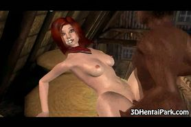 Sexy 3D country girl getting double teamed in a barn
