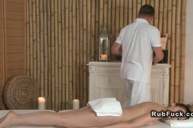 Babe after massage fucking masseur on a table