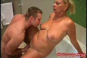 Sexy granny hard fucked by young cock