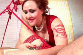 Naughty mistress ropes sex slave and sexually tortures
