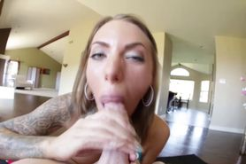 Pov blonde tattoo babe gets a facial