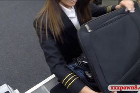 Hot latina stewardess sells her clothes and pussy bange