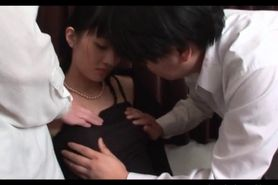 Pink shaved Japanese snatch licked and tickled in group