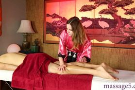 Luscious masseuse Jay Taylor gives a sloppy blowjob