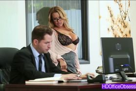 Horny secretary Corinna Blake gets fucked hard in the o