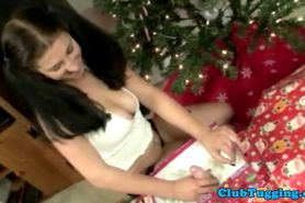 Busty teen wanks dude off at christmas