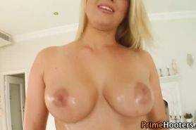 All natural big tits blonde uses dildo