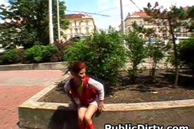 Red headed European Amateur Flashing Pussy In Public