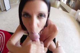 Pov nasty brunette gets facial