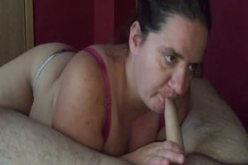 Chubby wife preforming a sucking ritual on a white pric