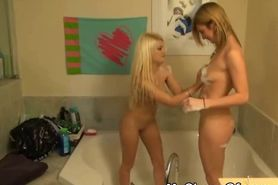 Pretty Blonde Ex And Her Friend Playing In Bathroom