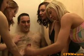 CFNM jerk loving sluts giving handjob