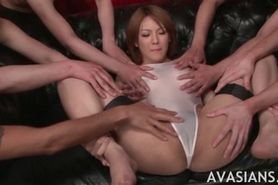 Very flexy bitch in lingerie masturbated in group