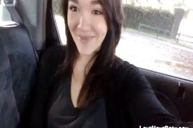 Cute babe masturbates in the back seat of the car