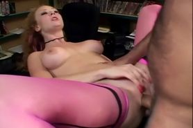Redhead in sexy thigh high nylons getting fucked