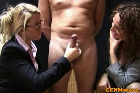 CFNM office sluts talk as they jerk cock