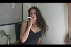 Hot Brunette Smoking 120s and Playing