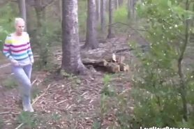 Hot blond chick gives blowjob in the woods and get jizz