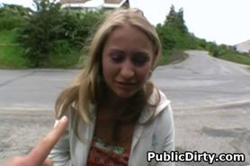 Wicked Looking Blonde Girl Sucking Dick Outdoors In Pub