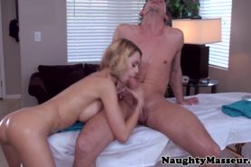 Masseur loving babe gets ass drilled