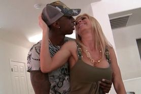 Busty mommy crazy about black huge cock eats one on kne