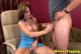 Mature handjob lover spoiling guys dick