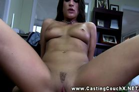 Young slut sucks off an agent at CastingCouchX
