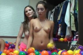 College Girls Getting Naked In Dorm Room Full Of Balls