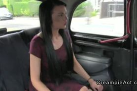 Tattooed amateur gets creampie in fake taxi