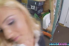 A sexy blonde Milf at the backroom moaning so loud whil