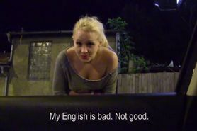 Stranded russian chick gets cum in her mouth