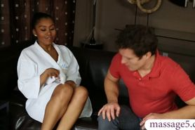 Ebony masseuse gives erotic nuru massage and gets fucke