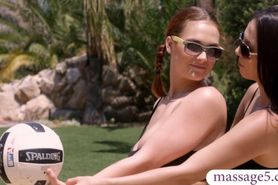Lesbian babes had an erotic massage after a volleyball