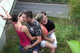 Group sex orgy in PUBLIC