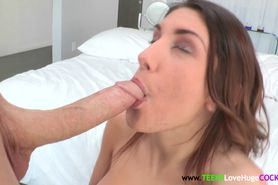 Young busty August Ames sucking dick